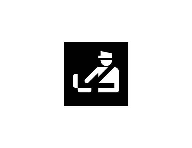 stockillustraties, clipart, cartoons en iconen met een vectorpictogram voor de controle van bagage. geïsoleerde douaneambtenaar, het vlak symbool van de veiligheidscontrole - vector - schiphol