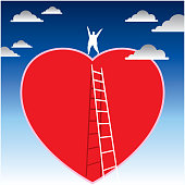 person climbing the ladder to red heart