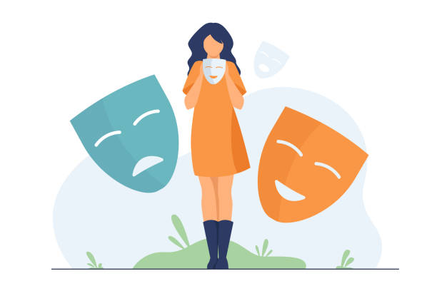 Person covering emotions, searching identity Person covering emotions, searching identity. Woman trying on carnival masks with happy or sad expressions. Vector illustration for psychology, mood changes, personality concept dishonesty stock illustrations