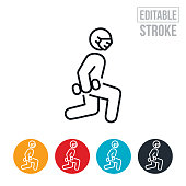 An icon of a person doing lunges while wearing a face mask. The icon includes editable strokes or outlines using the EPS vector file.