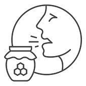 istock Person head with rhinitis and honey pot thin line icon, Allergy concept, Allergy to honey sign on white background, man suffering from allergic reaction icon in outline style. Vector graphics. 1263502455