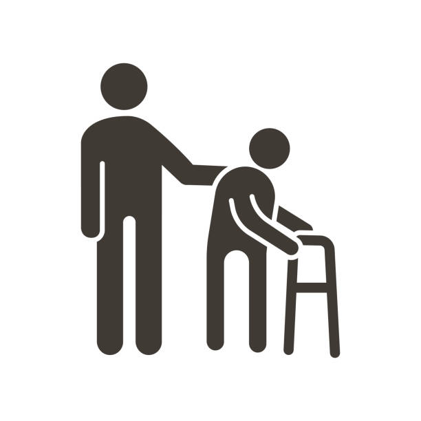 person helping old patient. vector flat glyph icon illustration. nursing home, senior and elders support, healthcare for the older people - care home stock illustrations