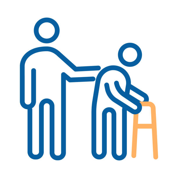person helping old patient. vector thin line icon illustration. nursing home, senior and elders support, healthcare for the older people - проживание с уходом stock illustrations