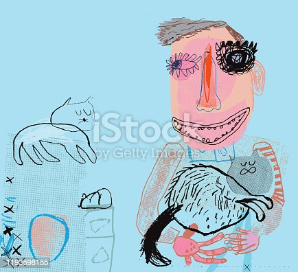 istock Person holding a cat 1193598155
