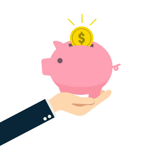 A person holding a piggy bank in his hand A person holding a piggy bank in his hand piggy bank stock illustrations