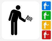 Person Holding a Racing Flag Icon. This 100% royalty free vector illustration features the main icon pictured in black inside a white square. The alternative color options in blue, green, yellow and red are on the right of the icon and are arranged in a vertical column.