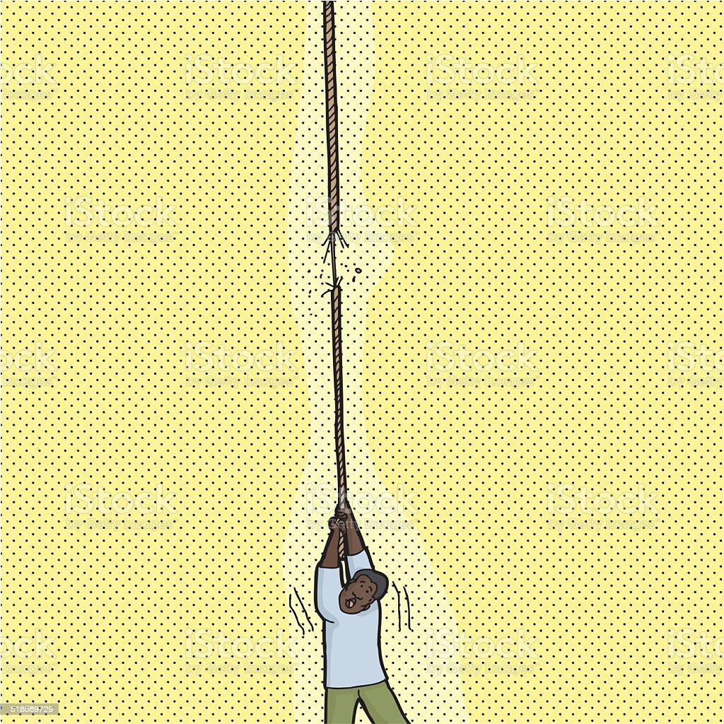 Person Holding Broken Rope vector art illustration