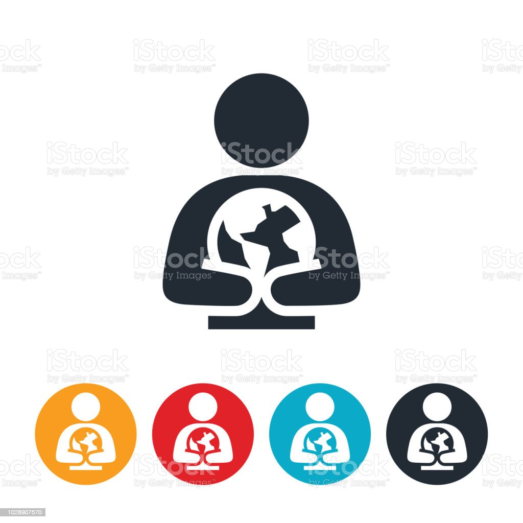 Person Holding Earth Icon vector art illustration