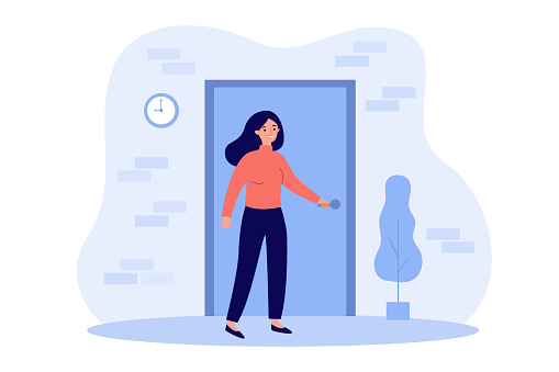 Person holding handle and opening apartment door. Woman entering into house or office. Flat vector illustration for entrance, home, exit, challenge, opportunity concept