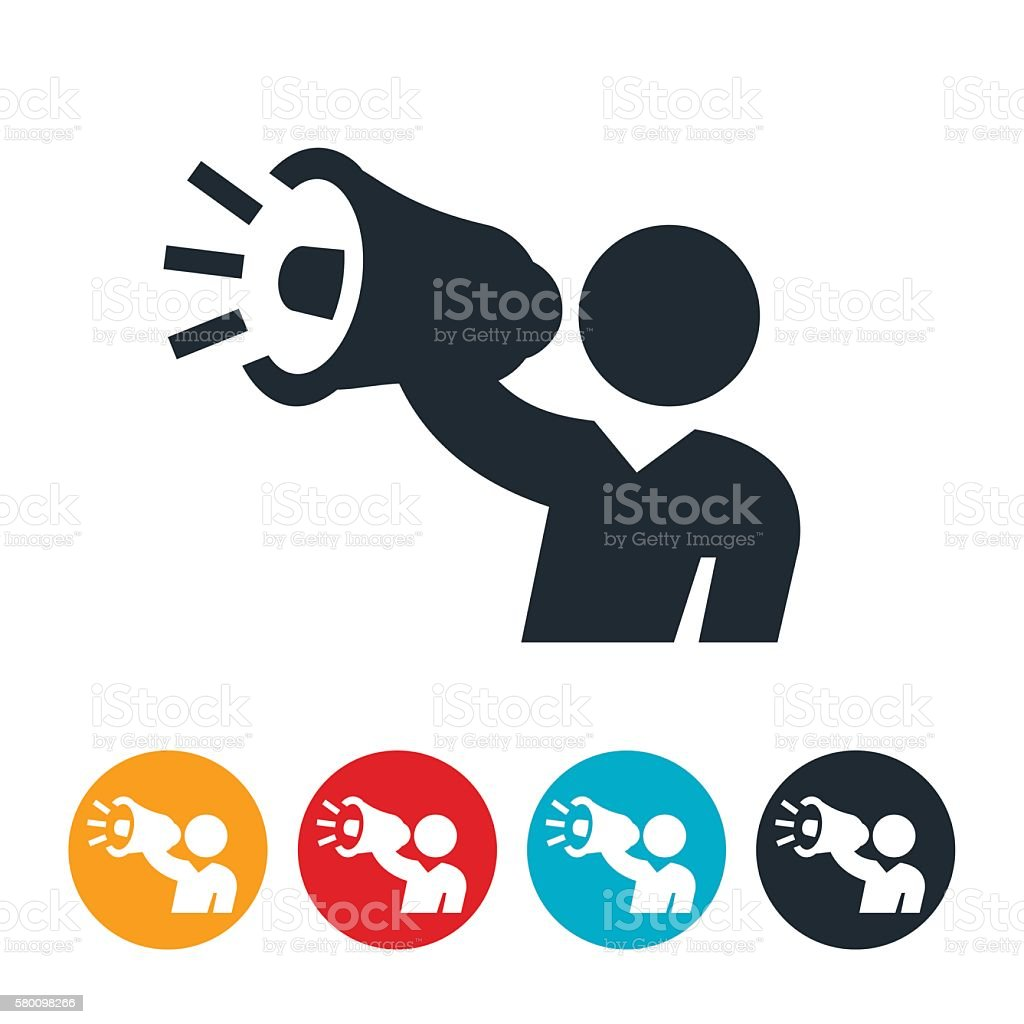Person Holding Megaphone Icon vector art illustration