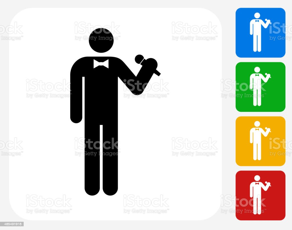 Person Holding Microphone Icon Flat Graphic Design vector art illustration
