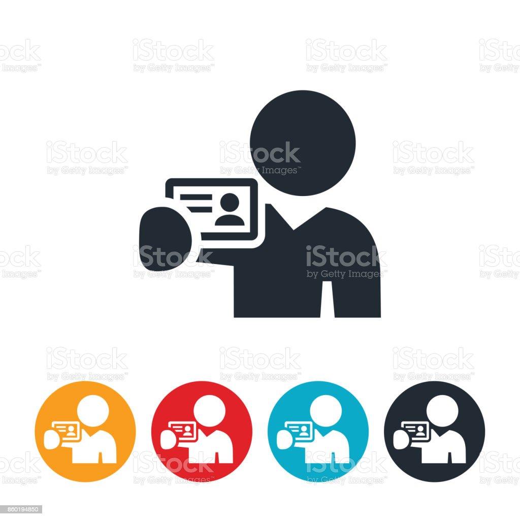 Persona que tenga un icono de la tarjeta de visita - ilustración de arte vectorial