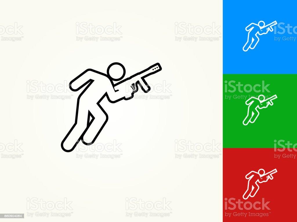 Person Holding Paintball Gun Black Stroke Linear Icon vector art illustration