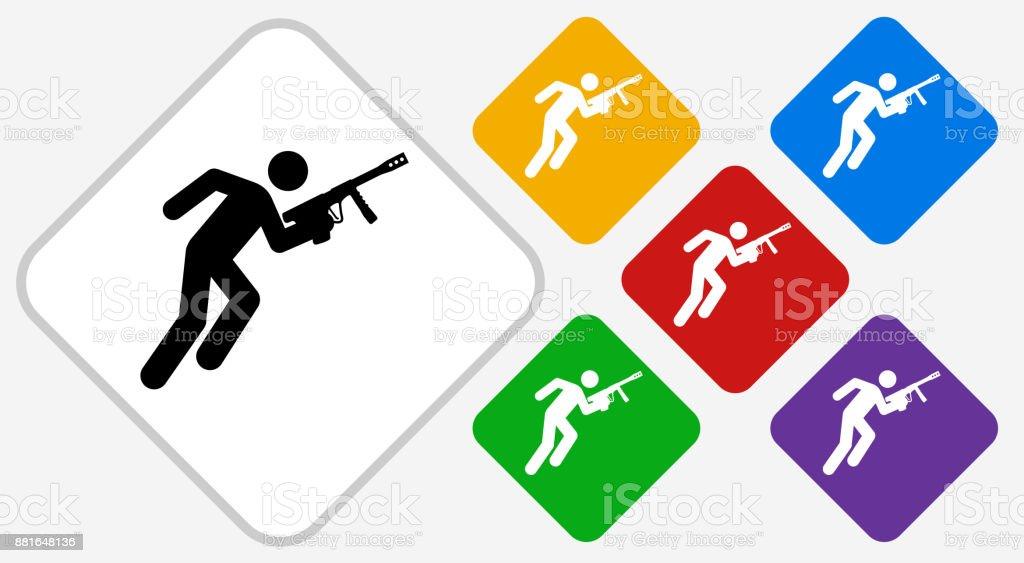 Person Holding Paintball Gun Color Diamond Vector Icon vector art illustration
