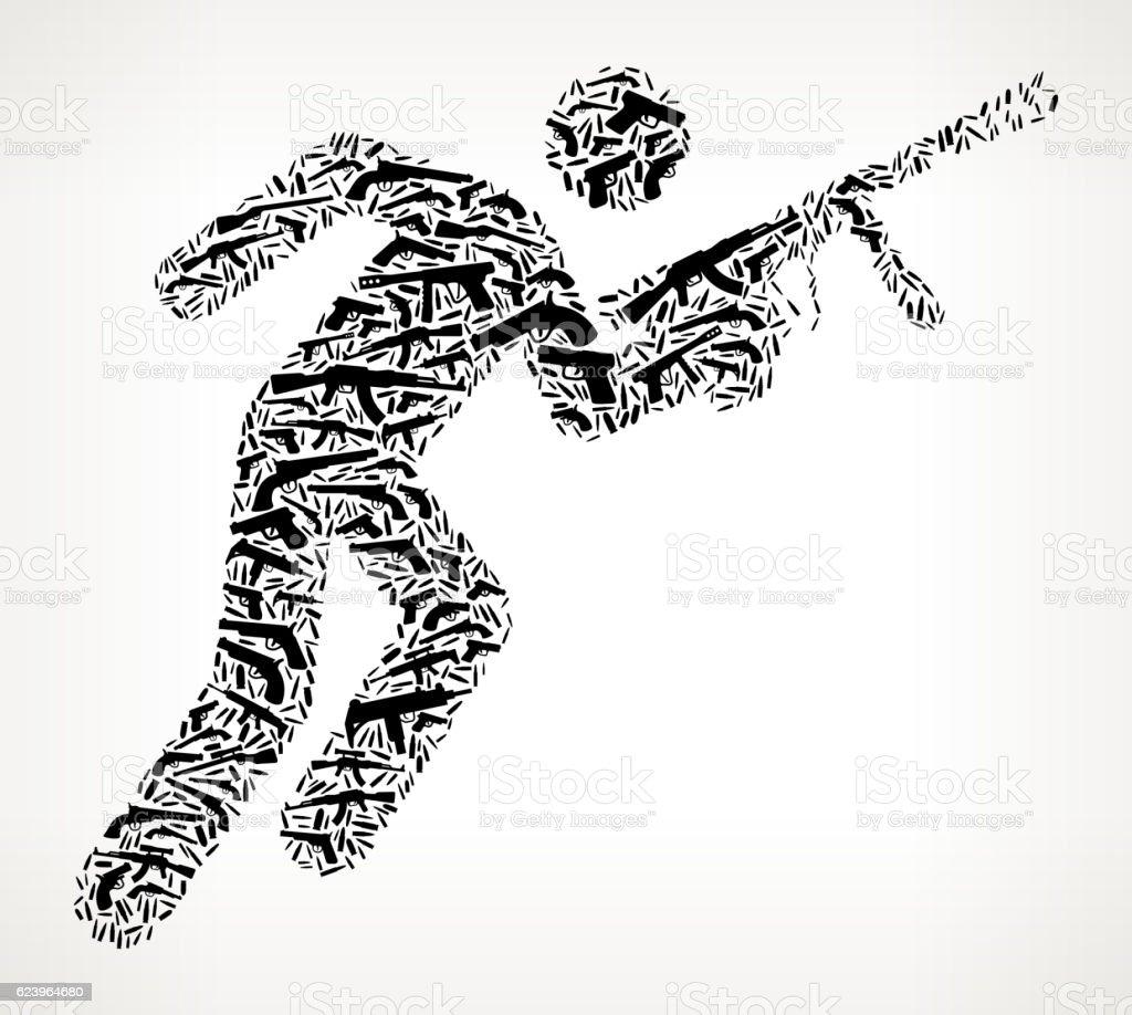 Person Holding Paintball Gun Gun Black Icon Pattern Background ベクターアートイラスト