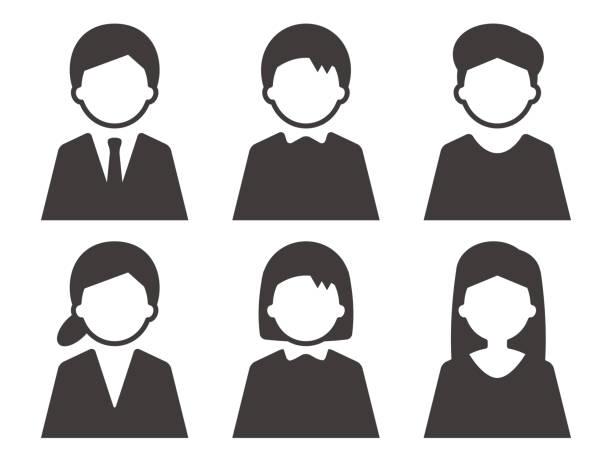 stockillustraties, clipart, cartoons en iconen met het geslachtreeks van het persoonspictogram eenvoudig zwart - portretfoto