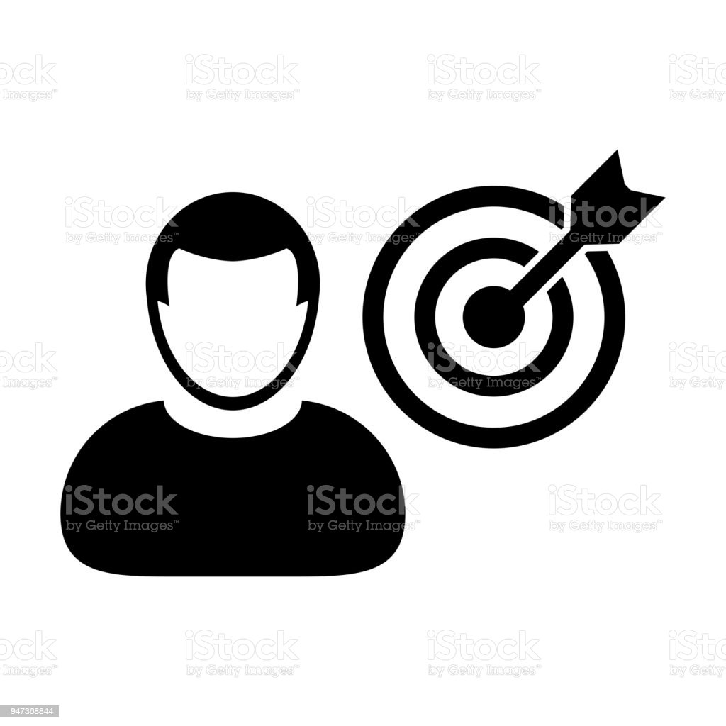 Person icon vector with target bullseye goal in dartboard symbol person icon vector with target bullseye goal in dartboard symbol for business development in glyph pictogram biocorpaavc Images