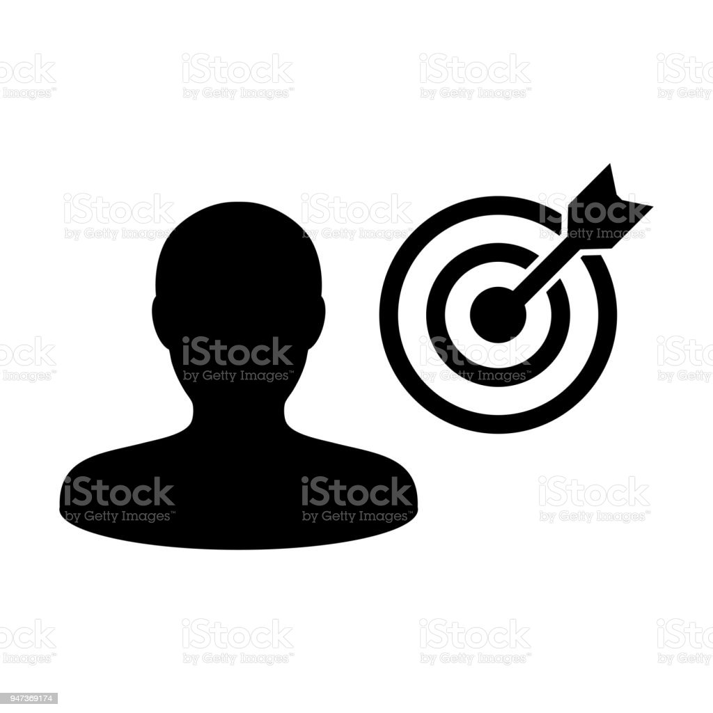 Person Icon Vector With Target Bullseye Goal In Dartboard Symbol For