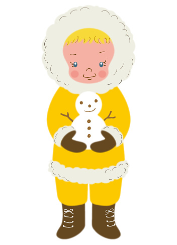 A person in a yellow winter coat holding a snowman