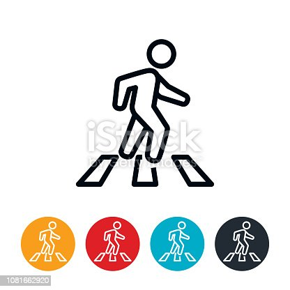 An icon of a person in a crosswalk crossing the street. The icons have editable strokes/lines.
