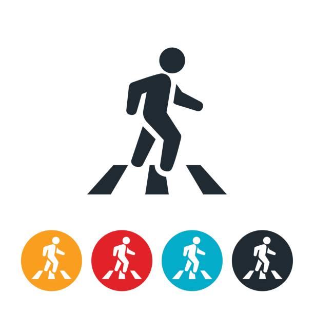 person in crosswalk icon - crossing stock illustrations, clip art, cartoons, & icons