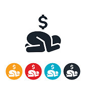 An icon of a broken down, depressed person in financial debt. The icon shows a person huddled on the ground with head in hands and a dollar sign above them.