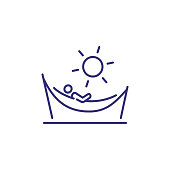 Person in hammock line icon. Beach, sun, resort. Sunbathing or vacation concept. Vector illustration can be used for topics like summer, tourism, retreat