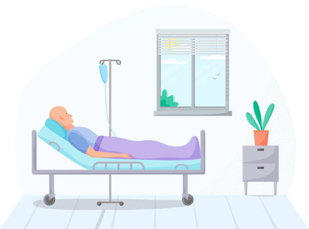 Person in hospital room, cancer patient on intravenous therapy treatment in warm, medical case on treatment, ill men on recovery in clinic, healthcare concept, vector Person in hospital room, cancer patient on intravenous therapy treatment in warm, medical case on treatment, ill men on recovery in clinic, healthcare concept, vector cancer patient stock illustrations