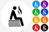 Person in Sauna Icon on Flat Color Circle Buttons
