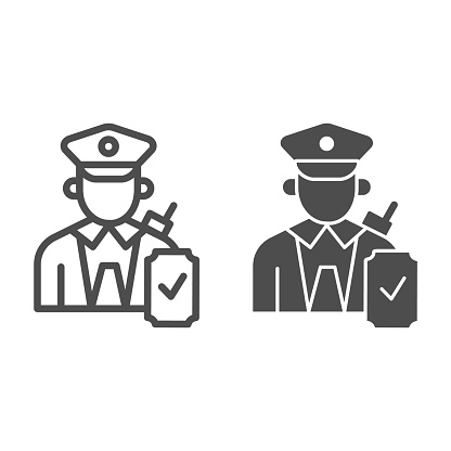 Person in uniform with checkmark line and solid icon, Public transport concept, Railway worker sign on white background, train conductor icon in outline style for mobile, web design. Vector graphics.