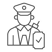 Person in uniform with checkmark thin line icon, Public transport concept, Railway worker sign on white background, train conductor icon in outline style for mobile, web design. Vector graphics