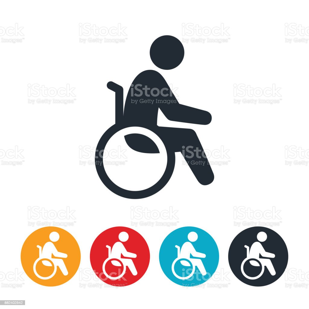 Person In Wheelchair Icon vector art illustration