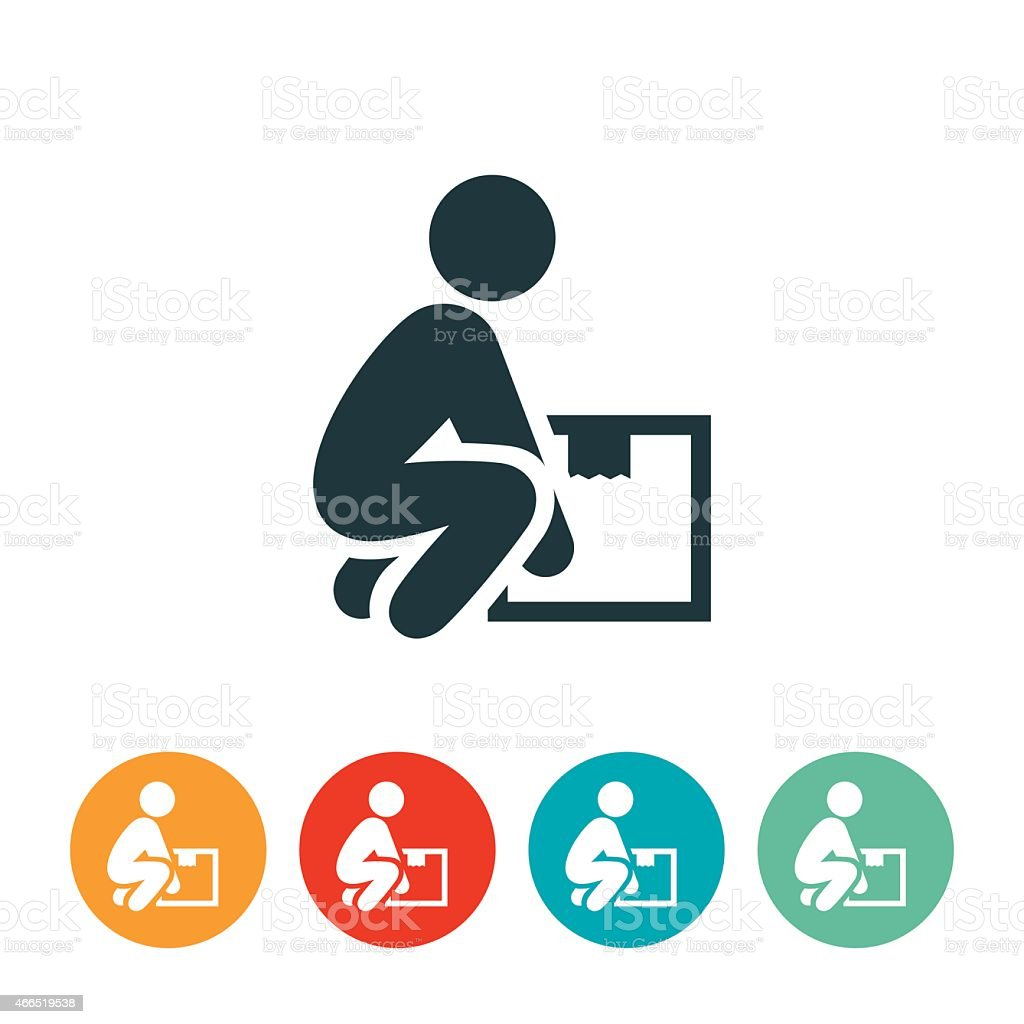 Person Lifting a Box Icon vector art illustration