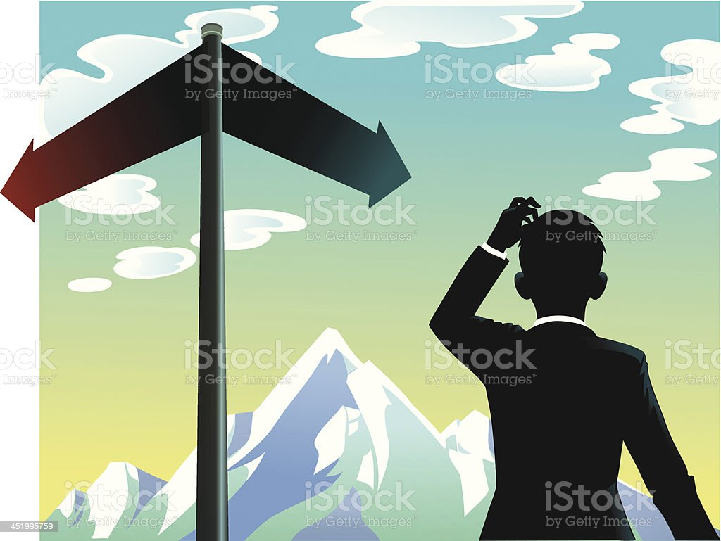 Person Making a Decision at the Crossroads royalty-free person making a decision at the crossroads stock vector art & more images of adult