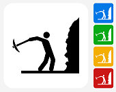Person Mining Icon. This 100% royalty free vector illustration features the main icon pictured in black inside a white square. The alternative color options in blue, green, yellow and red are on the right of the icon and are arranged in a vertical column.