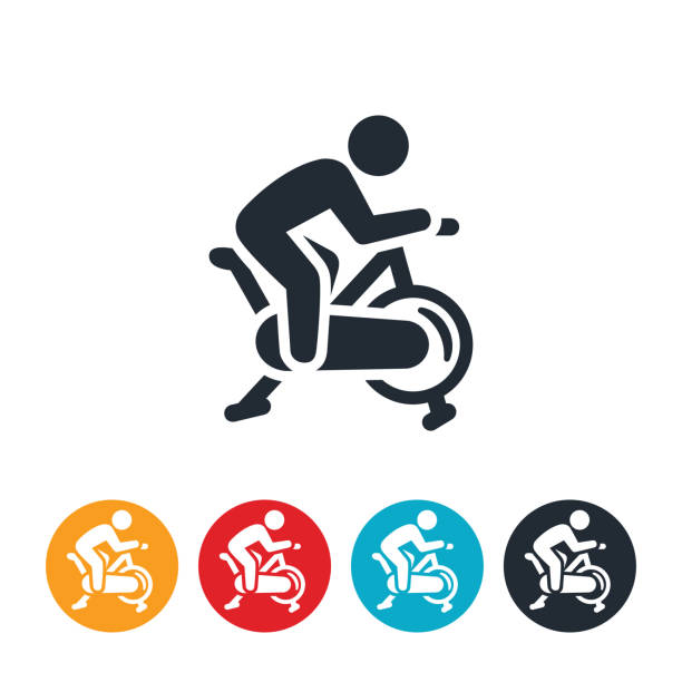 Person on a Exercise Bike Icon An icon of a person using an exercise bike. exercise bike stock illustrations