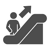 Person on escalator sign solid icon, Navigation concept, Escalator up sign on white background, elevator icon in glyph style for mobile concept and web design. Vector graphics