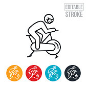 An icon of a person using stationary bike while wearing a face mask. The icon includes editable strokes or outlines using the EPS vector file.