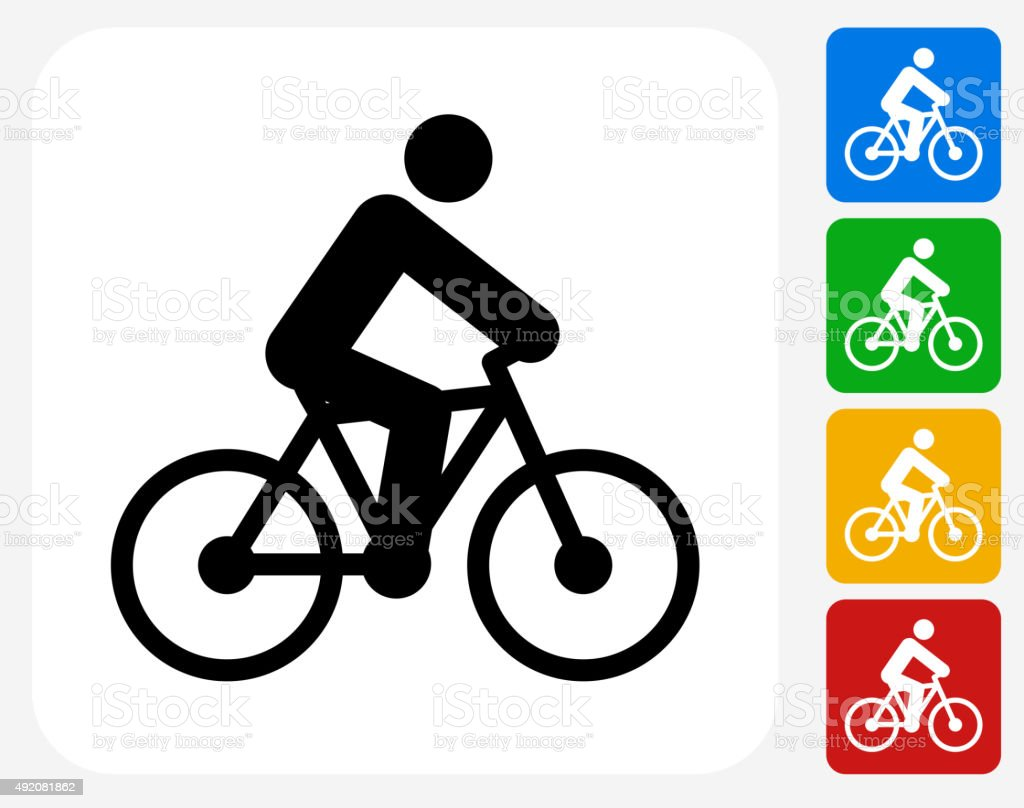 Person on the Bike Icon Flat Graphic Design vector art illustration