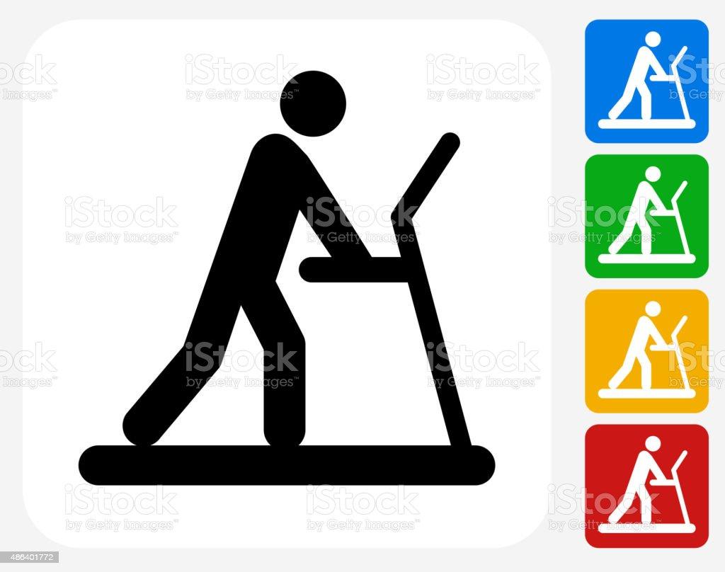 Person on The Treadmill Icon Flat Graphic Design vector art illustration