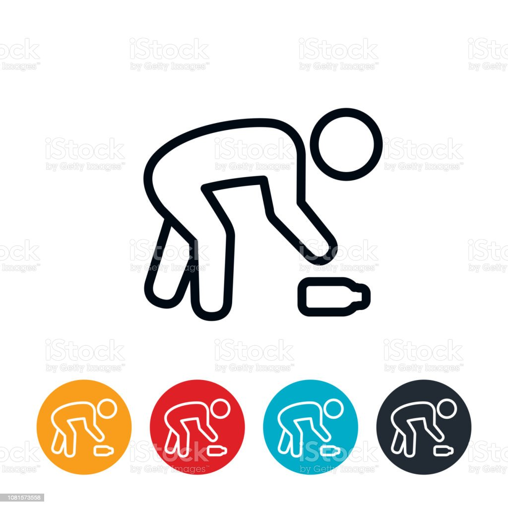 Person Picking Up Trash Icon vector art illustration