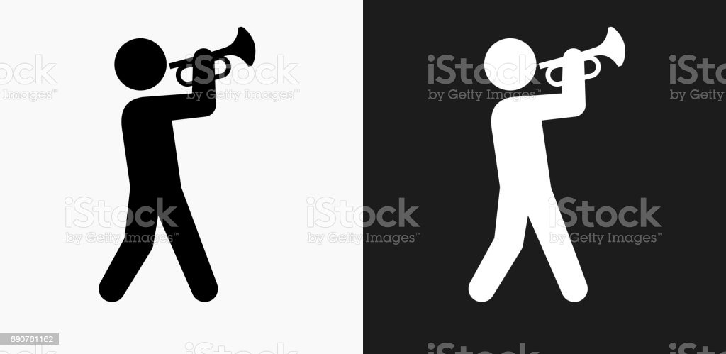 Person Playing Trumpet Icon on Black and White Vector Backgrounds vector art illustration