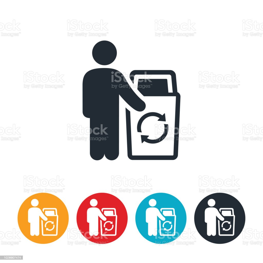 Person Pointing to a Recyle Garbage Can Icon vector art illustration