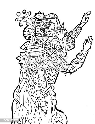 Person Reaching Out Coloring Page Stock Vector Art More Images Of A Helping Hand 1009457170