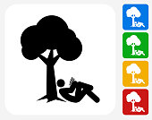 Person Reading Under The Tree Icon Flat Graphic Design
