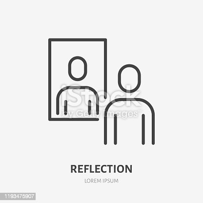 istock Person reflection in a mirror line icon, vector pictogram of confidence. Man looking at himself illustration, narcissism sign 1193475907