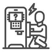 Person repair ATM line icon, Payment problem concept, technician repairs ATM sign on white background, repairman and broken payment terminal icon in outline style. Vector graphics