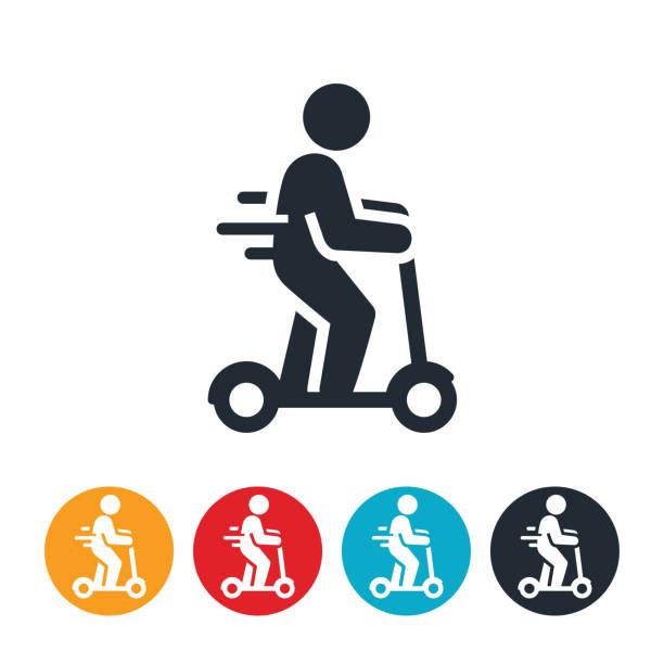 ilustrações de stock, clip art, desenhos animados e ícones de person riding an electric scooter icon - moto