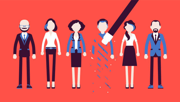 Person rubbed out and removed with eraser Person rubbed out and removed with eraser. Man obliterated from group of people, moved from business team, blocked in friends chat service, forbidden contacts. Vector illustration, faceless characters exclusion stock illustrations