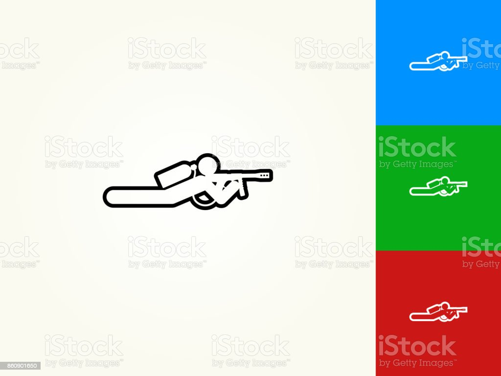 Person Shooting on the Ground Black Stroke Linear Icon vector art illustration